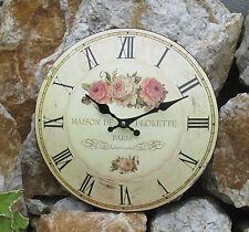 Horloge murale métal rose motif courbe rustique shabby Montre BOUQUET NOSTALGIE