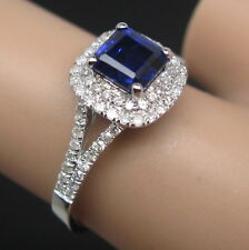 1.88ct Solid 14k White Gold Genuine Natural Diamond Best Blue VVS Sapphire Ring
