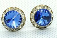 Pierced Post Earrings Rivoli Blue Point Crystal Circular Rhinestones Rim Vintage