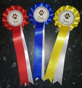 Dog Show Rosettes Set of 1st-3rd.  FREE POSTAGE
