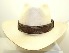 "Genuine 2 Tone Kango Tabac Ostrich Taupe Python Snake Skin 1 3/8"" wide Hat Band"