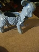 Vintage Ceramic Pottery  Blue Lamb with Bow Planter