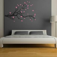 Asmi Collections Pvc Wall Stickers Black Branches Pink Leaves Birds