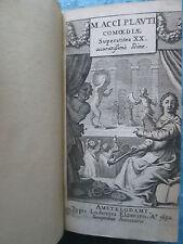 PLAUTE : M. ACCI PLAUTI COMOEDIAE. Elzevier, 1652.