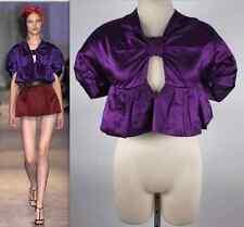 New sz 40 / US 4 Prada 2007 cropped jacket coat cape dress purple silk top