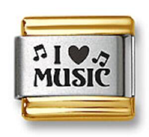 Italian Charm Bracelet Links Laser I Heart Music 9mm Gold Trim Stainless Steel