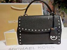 NWT MICHAEL KORS AVA Studded Saffiano Leather Small Satchel Bag BLACK $298