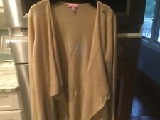Lilly Pulitzer Alina Camel Cashmere Wrap Sweater with Fringe.