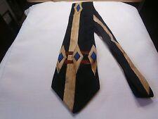 Polo Ralph Lauren 100 % Silk Mens Neck Tie black with geometric design nice tie