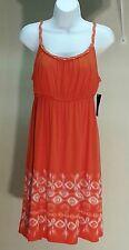 NWT $49 Style&co Batik Orange Spaghetti Strap Empire Waist Dress Size: PL