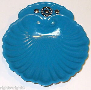 SHABBY LIME GREEN TEAL RHINESTONE CANDY DISH TRAY CHIC DECOR FRENCH COTTAGE