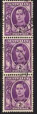 AUSTRALIA 1942-50 2d PURPLE COIL STRIP SG 205b FINE USED.