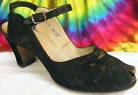 7.5-8-8.5 vintage 40s black suede leather Red Cross peep-toe heels pumps shoes