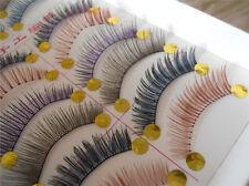 10 Pairs Long Thick Makeup Soft Eye Lashes Extension Colorful False Eyelashes GG
