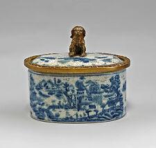Deckeldose oval Blaudekor Keramik/Bronze 9937874