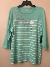 NWT Kim Rogers Women's Plus 1X Mint Aqua Green White Silver Sparkle Striped Top