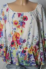 Bluse Gr. 40 weiß-bunt 3/4-Arm Blumen Chiffon Hüft Bluse