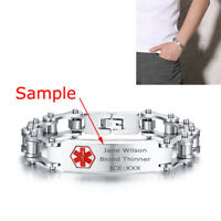 Men Medical Alert ID Bicycle Chain Link Wristband Bracelet Custom Free Engraving