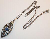Antique Art Nouveau Silver Plated Lavaliere Pendant Marcasites Pearls Necklace