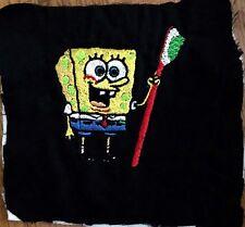 Sponge Bob W/ Toothbrush Appliqué Black Fabric Patch Dentist Dental Hygienist
