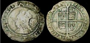 W261: 1572 Elizabeth 1st Hammered Sixpence. Initial Mark Ermine. Spink 2562