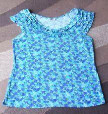 Ladies / Girls Pretty Green & Blue Floral Top Petite Size 12