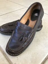 Born Loafers Size 8.5 40 Brown Leather Tassle Slip On Moccasin Shoe Womens EUC