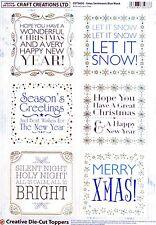 A4 DIE CUT FOIL CARD TOPPER SHEET Christmas Sentiments CDT582G Paper Tole