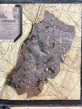 Ancienne Carte Relief En Bois Commune Sainte Eulalie Gironde Vin Bordeaux 1880