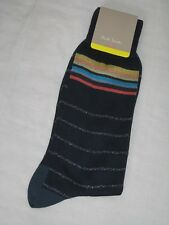 BNWT - PAUL SMITH Mens Fine Lurex Glittered Striped Socks Navy Blue
