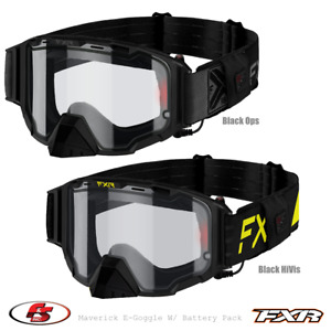 New FXR MAVERICK E-GOGGLE 21 Electric Heated Lens w/Battery Pack BlackOps Hi Vis