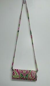 Vera Bradley Pinwheel Pink Sleek Wallet Crossbody Clutch Purse Strap Green