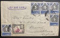1941 Tanga Tanganyika British KUT Airmail Cover To Harrow England