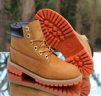 Timberland Junior's 6-Inch Premium Boot Wheat Nubuck Orange 8190R Size 4.5