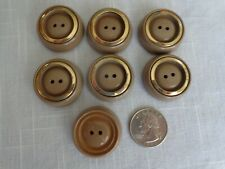 Large Tan/Light Brown 7 Vintage 2 holed Buttons with Metal Ring (#3675)