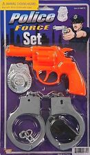 Kids POLICE FORCE SET HANDCUFFS Orange Hand Gun Whistle Badge Cop Costume Toy