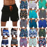 Mens Quick-Dry Beach Swim Pants Printed Surf Swimwear Board Shorts Casual Bottom