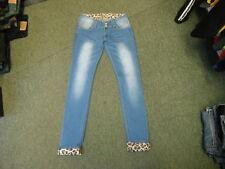"Newplay Skinny Turn Ups Jeans Waist 30"" Leg 31"" Faded Medium Blue Ladies Jeans"
