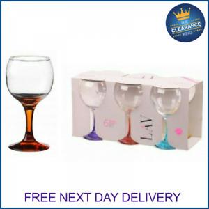 Lav Wine Glasses Set / Pack of 6 / 260 cc / Coloured Stem Wine Glass