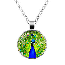 Vintage Style Glass Pendant Blue Green Peacock Elegant Necklace N462