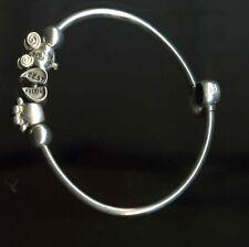 Genuine Chamilia 925 Silver Flexi Bangle Charm Bracelet with 3 Chamilia Charms