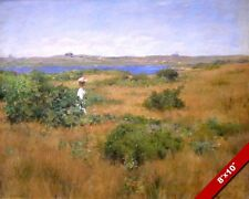 SUMMER AT SOUTHHAMPTON NEW YORK WOMAN IN DRESS PAINTING ART REAL CANVAS PRINT