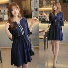 Summer Korean Womens Chiffon Empire Waist V Neck Slim Casual A Line Tunic Dress