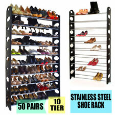 50 Pair 10 Tier Adjustable Stainless Steel Space Saving Storage Shoes Tower Rack