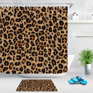 "Creative Leopard Print Pattern Shower Curtain Set Bathroom Waterproof Fabric 72"""