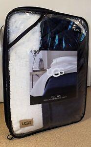 """UGG KING Avalon Reversible Sherpa Plush King Blanket 110""""x90"""" Navy/ White NIP"""