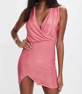 Missguided Mini Dress Slinky Sleeveless Bodycon In Pink Coral Stretch UK Size 10