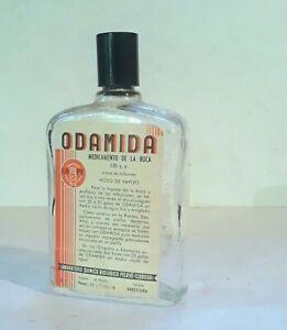 ☆ Vintage ODAMIDA Medicated MOUTH WASH Glass Bottle BARCELONA Spain GINGIVITIS