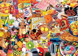 Jigsaw Puzzle Americana Breakfast Eats Morning Foods Montage 1000 pieces NEW
