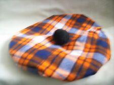 Handmade Scottish Tam Hat Outlander Highlander orange and blue plaid